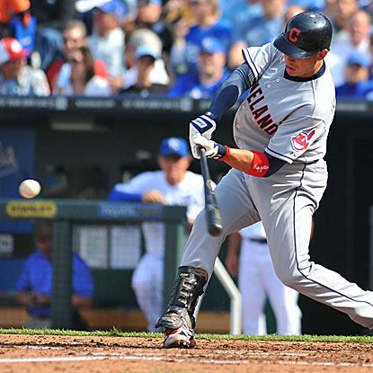 Asdrubal Cabrera goes 2 for 5 with a homer and two runs scored as the Indians spoil the Royals' home opener.  (US Presswire)