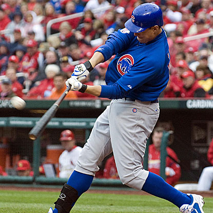 Bryan LaHair connects for a third-inning grand slam as the Cubs pound the Cardinals' Adam Wainwright for eight earned runs.  (US Presswire)