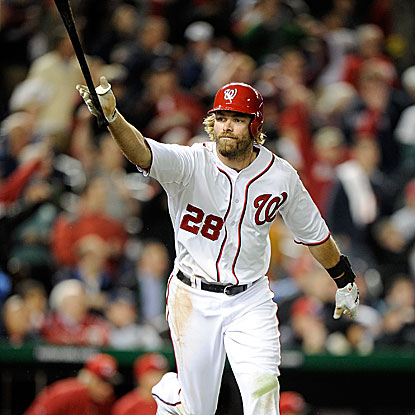 The Nationals' Jayson Werth comes through with a bases-load single in the bottom of the 13th inning to beat the Reds.  (Getty Images)