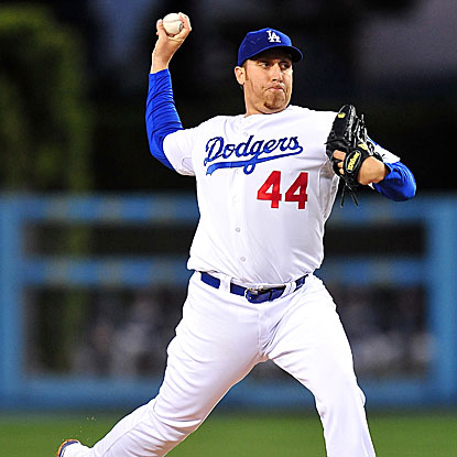 Aaron Harang strikes out 13, including a team-record nine straight, as the Dodgers defeat the Padres.  (US Presswire)