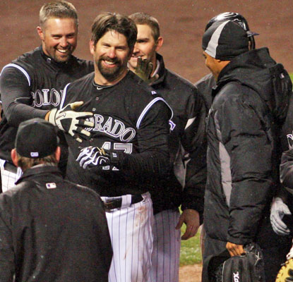 Todd Helton picks a fine time to hit his first home run -- a walk-off shot off Arizona's J.J. Putz.  (US Presswire)