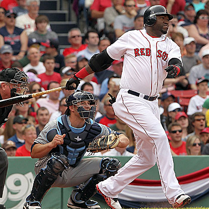 David Ortiz's RBI double in the sixth inning is his seventh consecutive base hit and stands up as the game-winning run.  (Getty Images)