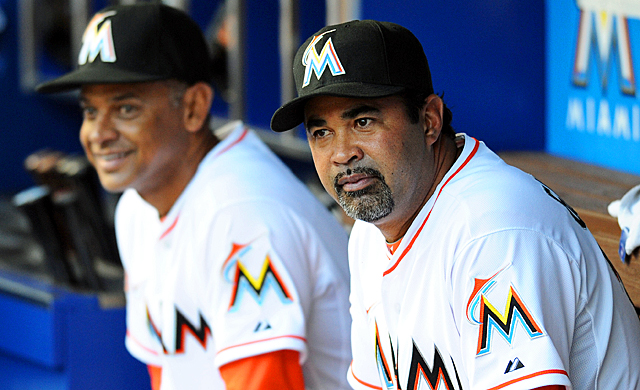 Ozzie Guillen gets back to the bench with bench coach Joey Cora after a five-game ban. (US Presswire)