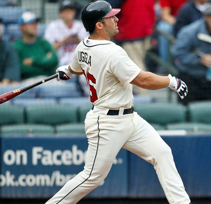 Dan Uggla had been 0 for 24 against knuckleballer R.A. Dickey until this two-run homer in the third inning.  (US Presswire)