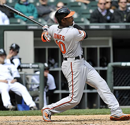 Adam Jones has hit four home runs in the first seven games of the Orioles' current road trip.  (Getty Images)