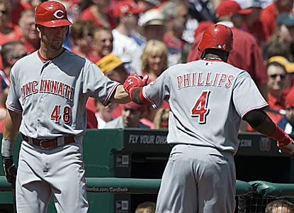 Ryan Ludwick and Brandon Phillips both homer for the Reds, who drop ex-20-game winner Adam Wainwright to 0-3. (US Presswire)
