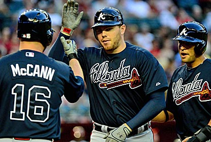 Freddie Freeman hits two home runs and drives in five to help send the D-Backs to a third straight loss.  (US Presswire)
