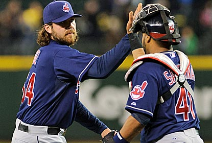 Chris Perez closes out the Indians' comeback victory as King Felix's dominant outing is spoiled in the ninth.  (US Presswire)