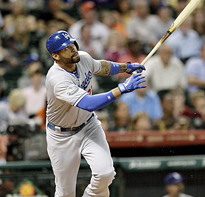 Matt Kemp connects for a two-run homer, his eighth of the year, giving him 20 RBI on the season.  (US Presswire)