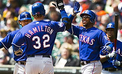 Josh Hamilton helps fuel the eight-run first with a three-run shot in Game 1 for the Rangers, winners of eight in a row. (US Presswire)