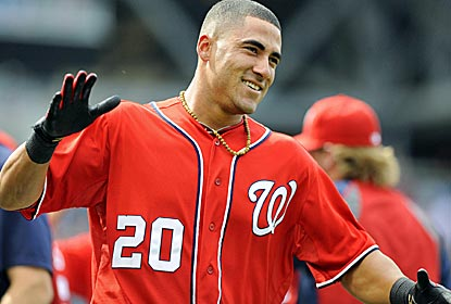 Nationals shortstop Ian Desmond is all smiles after hitting the game-winning sac fly in the 10th inning.  (US Presswire)