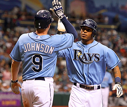 Desmond Jennings (right) celebrates with Elliot Johnson after crushing a two-run homer in the fifth inning against the Twins. (US Presswire)
