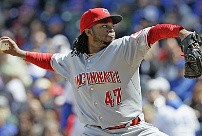 Johnny Cueto goes 6 1/3 innings to earn the win and lower his season ERA to a miniscule 1.78.  (AP)