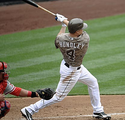 Nick Hundley hits a homer and a triple to break out of a funk, helping the Padres defeat the Phillies.  (Getty Images)
