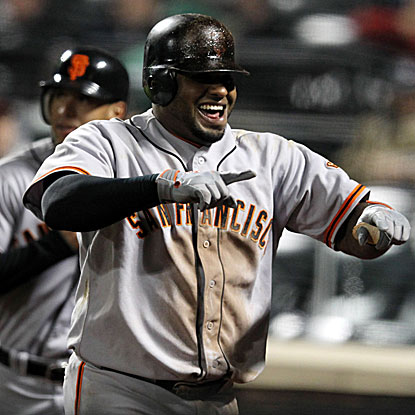 Pablo Sandoval's HR extends his hitting streak to 16, tying Willie Mays' San Fran mark for a streak to start the season.  (US Presswire)