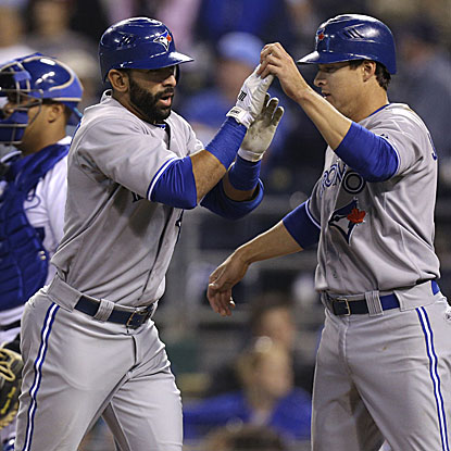 Jose Bautista connects for an important home run in the Blues Jays' win over the Royals, improving their road record to 6-1.  (Getty Images)