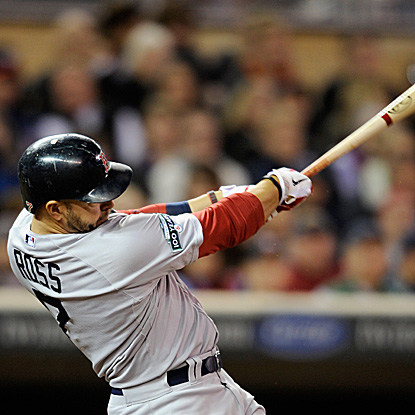 Cody Ross hits two homers, including a solo shot in the ninth inning to give the Red Sox the eventual winning run.  (Getty Images)