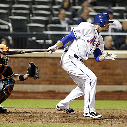 Lucas Duda's eighth-inning RBI single breaks a tie game and gives the Mets the victory over the Marlins.  (US Presswire)
