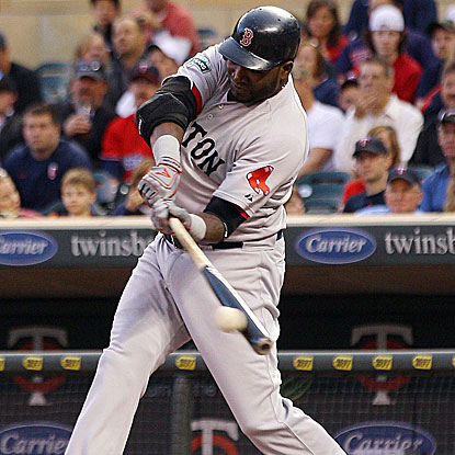 David Ortiz launches a home run that travels an estimated 429 feet in the Red Sox's victory.  (US Presswire)