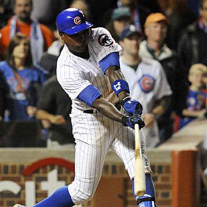 Alfonso Soriano's RBI single in the 10th inning wins it for the Cubs, ending the Cards run of 13 consecutive winning series.  (US Presswire)