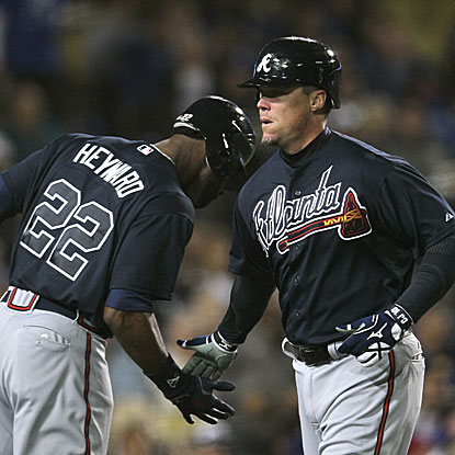 Chipper Jones celebrates his 40th birthday with a home run in the Braves' win over the Dodgers.  (Getty Images)
