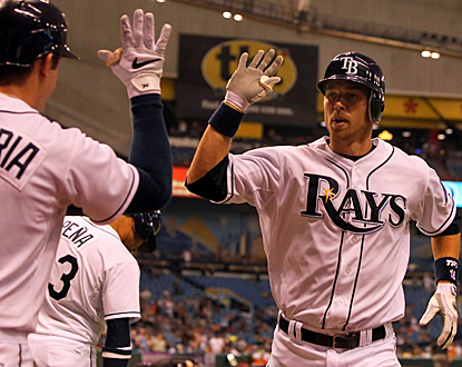 Ben Zobrist (right) celebrates with Evan Longoria after hitting a homer in the third inning against the Angels. (US Presswire)