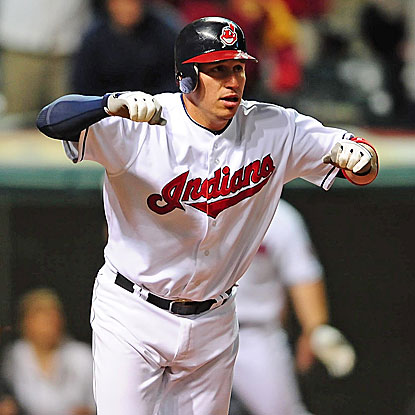 Asdrubal Cabrera drives home the winning run for the Indians, sending the Angels to their fifth consecutive defeat.  (US Presswire)