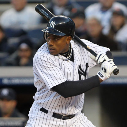 Curtis Granderson doubles and comes around to score in the first inning to put the Yankees on the board.  (US Presswire)