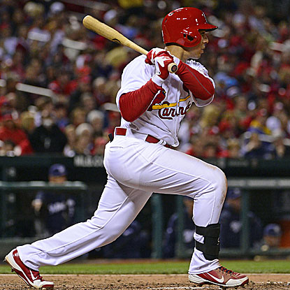 Jon Jay knocks three hits and collects three RBI to pace the Cardinals' 15-hit onslaught.  (US Presswire)