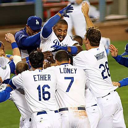 After rallying to tie the game in the ninth inning, Matt Kemp homers in the 10th to cap a comeback victory for the Dodgers.  (US Presswire)