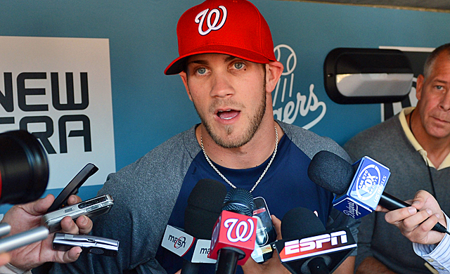 Harper handles his first day in the big leagues with a more humble demeanor. (Getty Images)