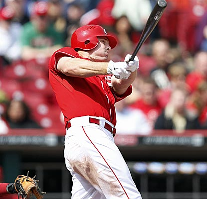 Jay Bruce hits a homer for the fourth consecutive game, leaving him one shy of tying the Cincinnati franchise record.  (Getty Images)