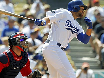 James Loney drives in two runs with a bases-loaded single to account for all of the Dodgers' scoring.  (AP)