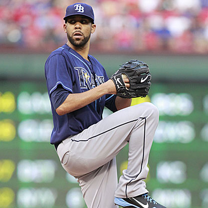 David Price allows two runs in 6 1/3 innings to defeat the Rangers for the first time in 10 career starts against them.  (US Presswire)