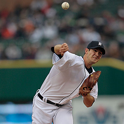 The Tigers' Rick Porcello is solid in his eight innings of work, allowing three runs on seven hits to defeat the Royals.  (Getty Images)