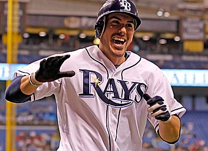 Matt Joyce, celebrating his solo home run here, collects two of the Rays' three hits in the win. (Getty Images)