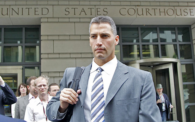 Andy Pettitte leaves court after his second day of testimony in Roger Clemens' perjury trial. (AP)