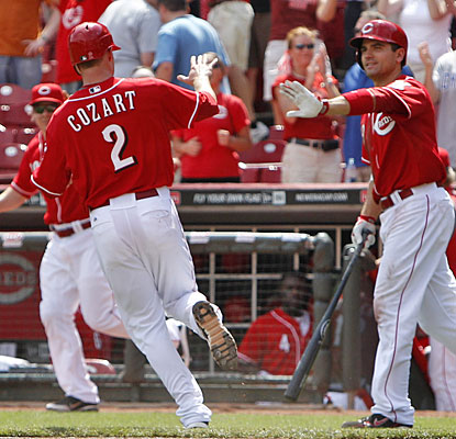 Zack Cozart comes home with the winning run in the 10th inning and gets a high-five from Joey Votto.  (US Presswire)