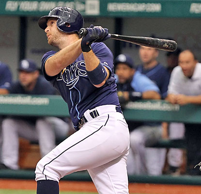 Jeff Keppinger unloads for a homer in the second as the Rays score all four of their runs in the inning.  (US Presswire)