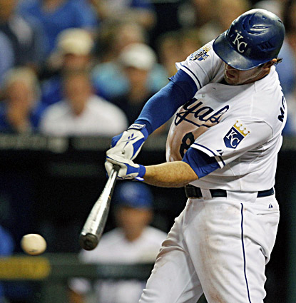 The Royals' Mike Moustakas belts a two-RBI single during the fifth inning against the Yankees. (AP)