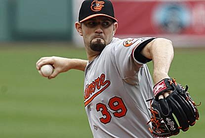 Orioles starter Jason Hammel holds the Red Sox scoreless through six innings, striking out eight.  (US Presswire)