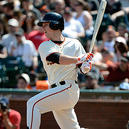 Buster Posey goes 2 for 4 including an RBI single in the Giants' three-run sixth inning.  (Getty Images)