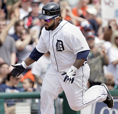 Prince Fielder rounds third base after hitting one of the Tigers' three solo home runs vs. Chicago. (AP)