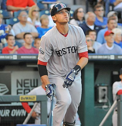 Will Middlebrooks follows the flight of his three-run roundtripper in the first inning. He adds a two-run shot in the eighth.  (US Presswire)