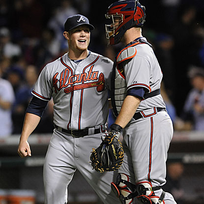 The Braves' Craig Kimbrel strikes out two batters and retires the side in the 9th to collect his 10th save of the season. (Getty Images)