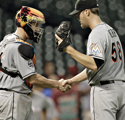 Ryan Webb gets the win for Miami with 1 1/3 innings of scoreless relief against the Astros.  (Getty Images)