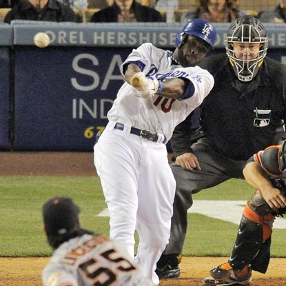 Tony Gwynn Jr. yanks a Tim Lincecum pitch down the right-field line for a game-changing three-run triple in the fifth inning.  (AP)