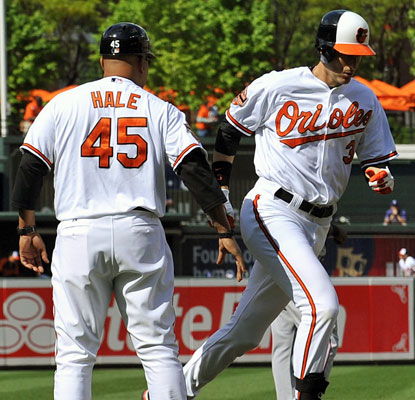 Ryan Flaherty and the Orioles become the first AL team to start a game with three straight home runs.  (US Presswire)
