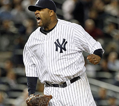 CC Sabathia is pumped up after 10 strikeouts in eight innings, the fourth start he goes that long. (US Presswire)