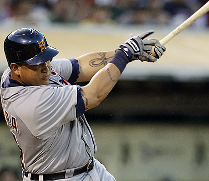 Miguel Cabrera ends a hitless slump of 14 at-bats, finishing with four hits against the Athletics. (AP)